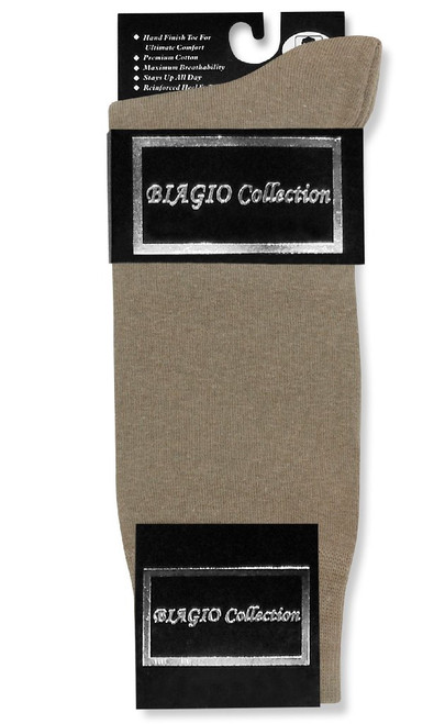 Taupe Light Brown Mens Dress Socks | 1 Pair Of Biagio Cotton Socks