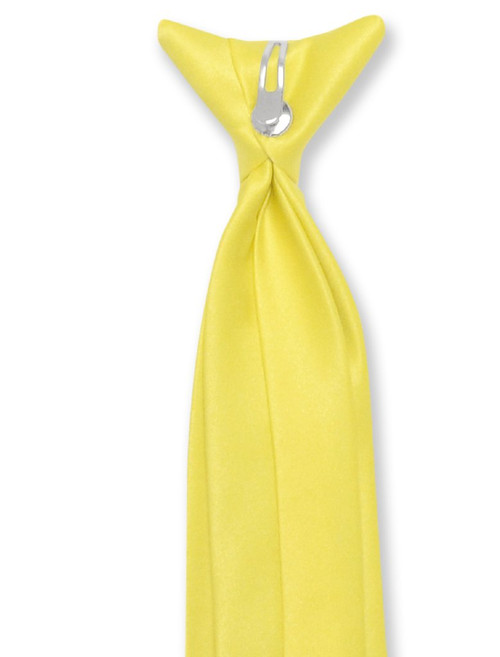 Vesuvio Napoli Boys Clip-On NeckTie Solid Golden Yellow Youth Neck Tie