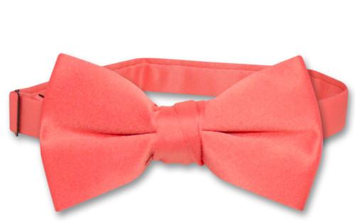 Vesuvio Napoli Boys BowTie Solid Coral Pink Color Youth Bow Tie
