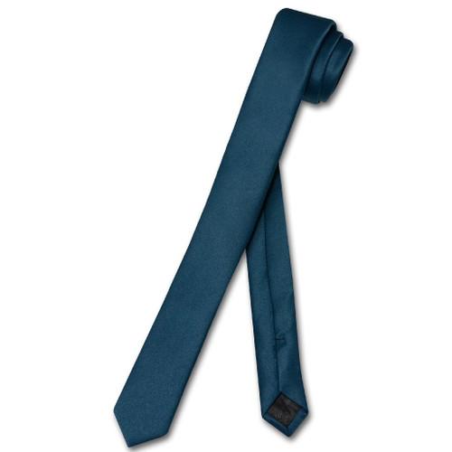 Vesuvio Napoli Narrow NeckTie Extra Skinny Blue Sapphire Mens Neck Tie