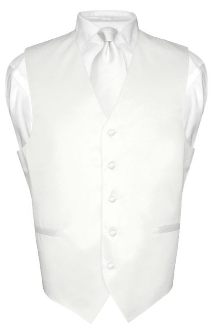Mens Dress Vest & NeckTie Solid White Color Neck Tie Set