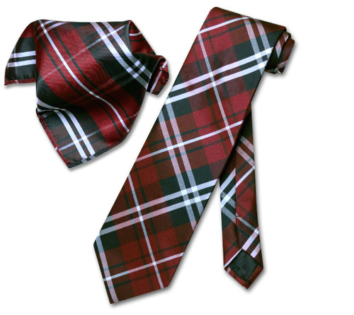 Vesuvio Napoli Black Burgundy White Plaid NeckTie Handkerchief Tie Set
