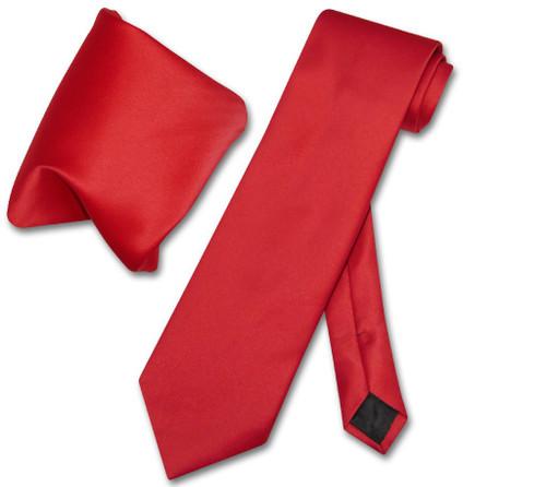 Vesuvio Napoli Solid Red NeckTie Handkerchief Mens Neck Tie Set
