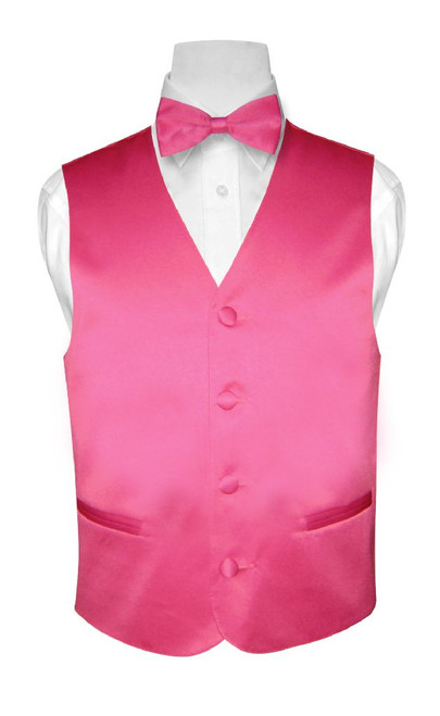 Boys Dress Vest Bow Tie Solid Hot Pink Fuchsia Color BowTie Set