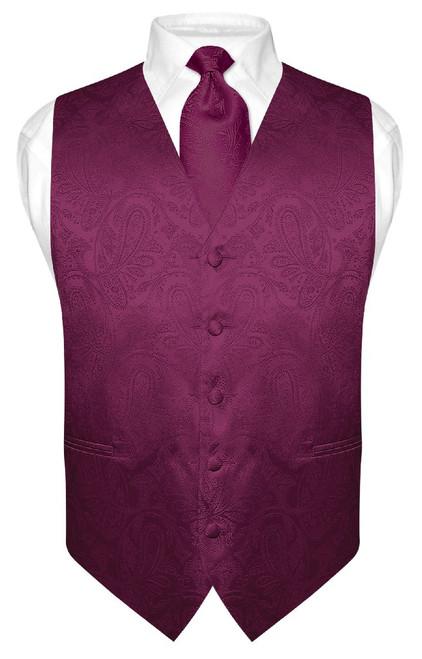 Mens Paisley Design Dress Vest & NeckTie Eggplant Purple Neck Tie Set