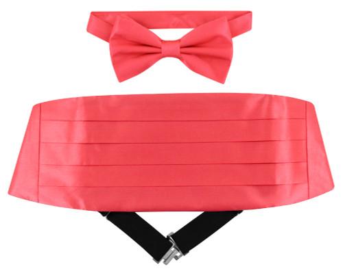 Silk Cumberbund BowTie Coral Pink Color Mens Cummerbund Bow Tie Set