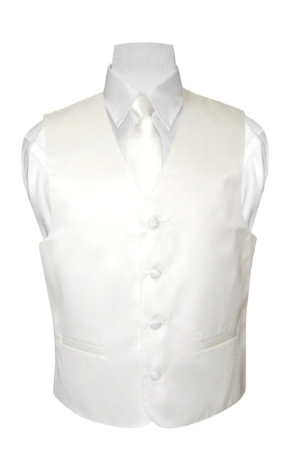 Boys Dress Vest NeckTie Solid White Color Neck Tie Set