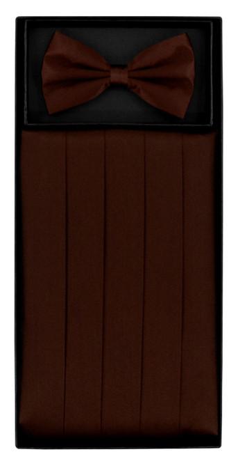 Silk Cumberbund BowTie Chocolate Brown Mens Cummerbund Bow Tie Set