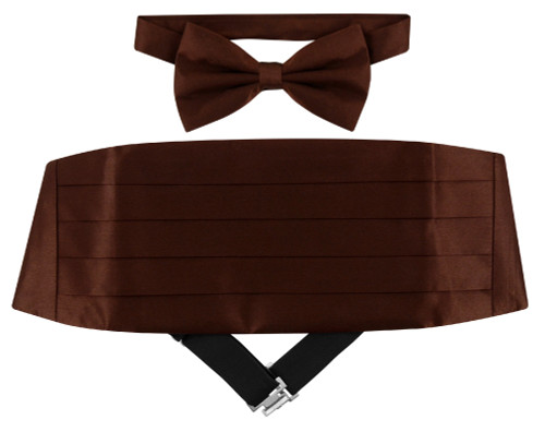 Silk Cumberbund BowTie Chocolate Brown Mens Cummerbund Bow Tie Set