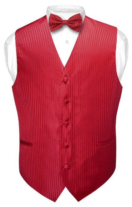 Mens Dress Vest BowTie Red Color Vertical Striped Bow Tie Set