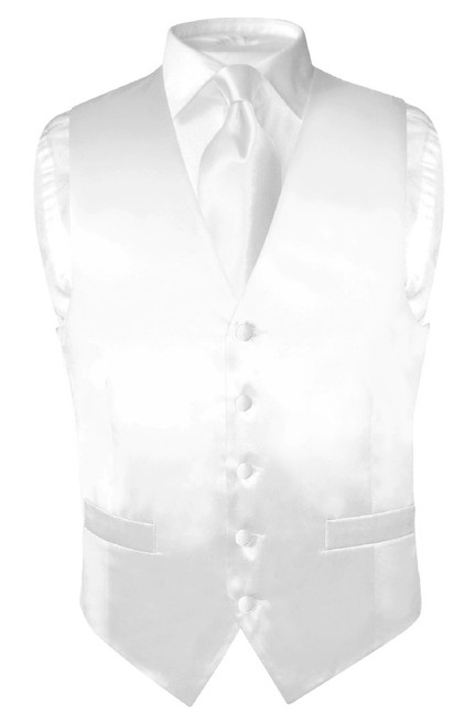 Biagio Mens Silk Dress Vest & NeckTie Solid White Color Neck Tie Set