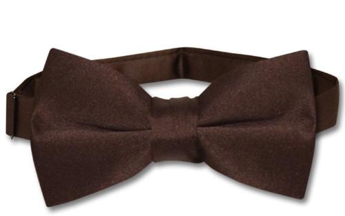 Vesuvio Napoli Boys BowTie Solid Chocolate Brown Color Youth Bow Tie