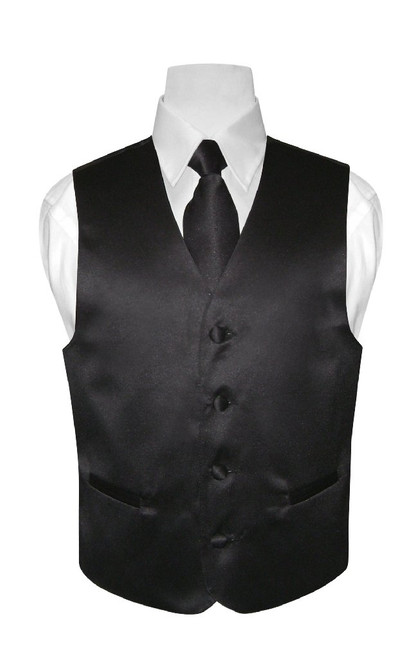Boys Dress Vest NeckTie Solid Black Color Neck Tie Set