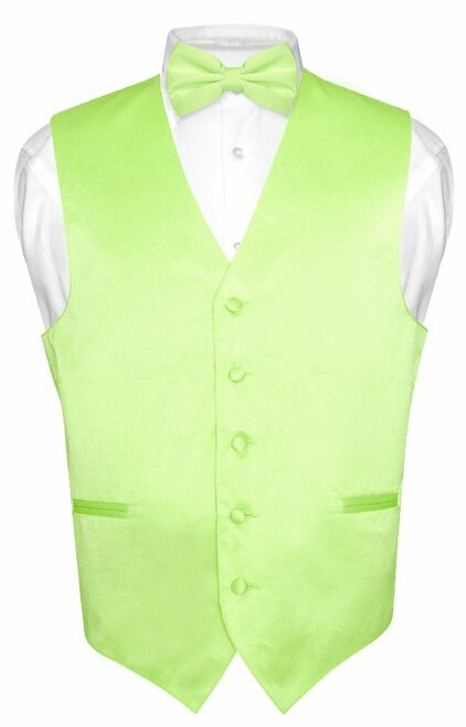 Mens Dress Vest & BowTie Solid Lime Green Color Bow Tie Set