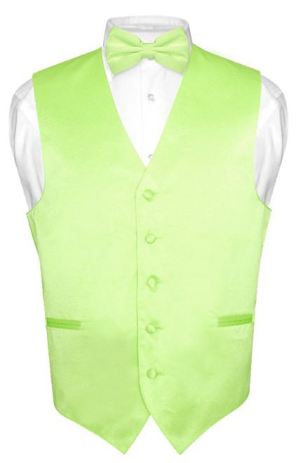 Mens Dress Vest & BowTie Solid Lime Green Color Bow Tie Set