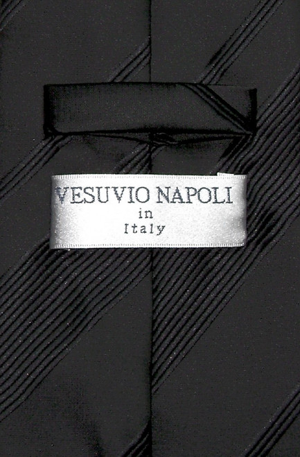 Vesuvio Napoli NeckTie Black Woven Striped Design Mens Neck Tie