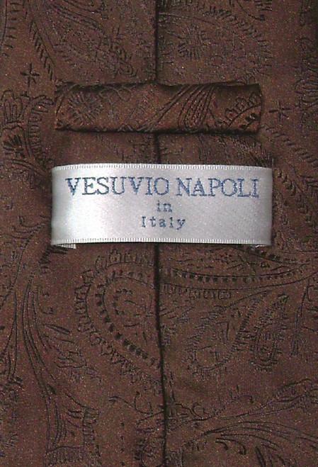 Vesuvio Napoli Chocolate Brown Paisley NeckTie & Handkerchief Tie Set