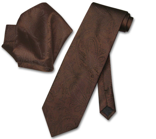 Vesuvio Napoli Chocolate Brown Paisley NeckTie & Handkerchief Tie Set