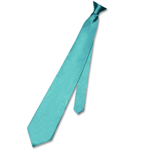 Biagio Clip-On NeckTie Solid Turquoise Aqua Blue Color Mens Neck Tie