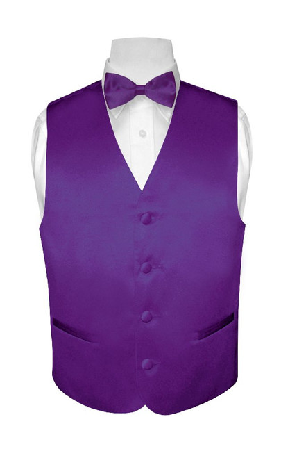 Boys Dress Vest Bow Tie Solid Purple Indigo Color BowTie Set