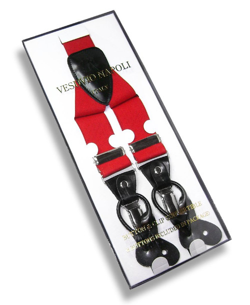 Mens Solid Red Suspenders Y Shape Back Elastic Button & Clip