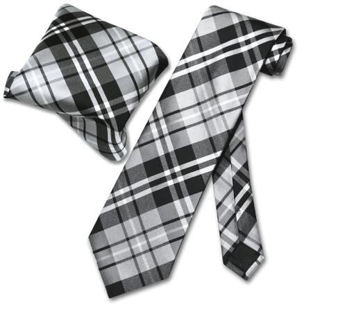 Vesuvio Napoli Black Gray White Plaid NeckTie & Handkerchief Tie Set