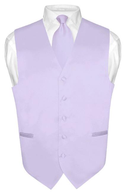 Lavender Vest and NeckTie | Mens Formal Dress Vest & Neck Tie Set