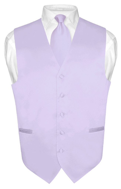 Lavender Vest and NeckTie | Mens Formal Dress Vest & Neck Tie Set