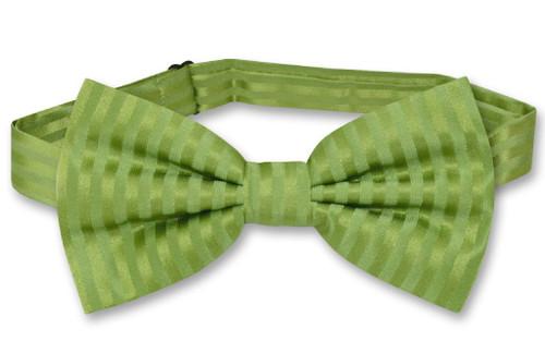 Vesuvio Napoli BowTie Spinach Green Vertical Stripes Mens Bow Tie