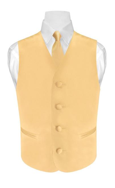 Boys Dress Vest NeckTie Solid Gold Color Neck Tie Set