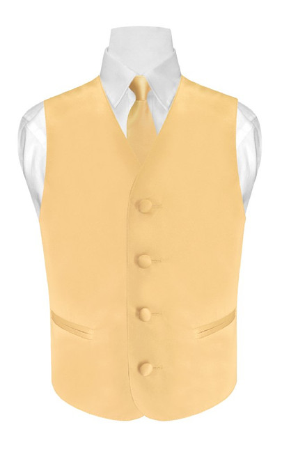 Boys Dress Vest NeckTie Solid Gold Color Neck Tie Set