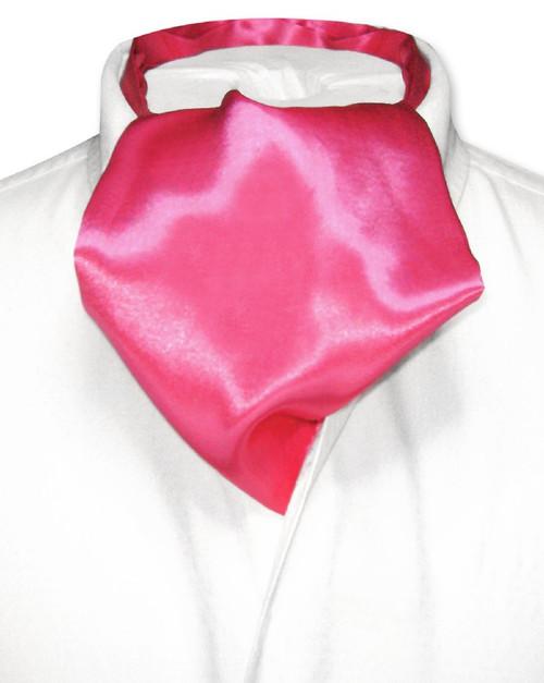 Hot Pink Fuchsia Cravat Tie | Biagio Ascot Solid Color Mens NeckTie