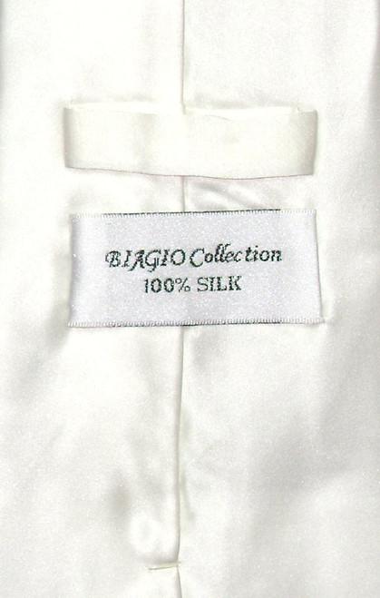 Biagio Silk Solid Off-White Ivory Color NeckTie Hanky Mens Tie Set