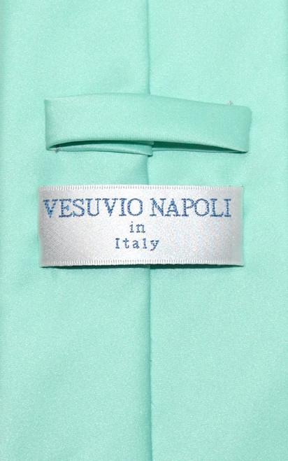 Vesuvio Napoli Solid Aqua Green NeckTie Handkerchief Mens Neck Tie Set