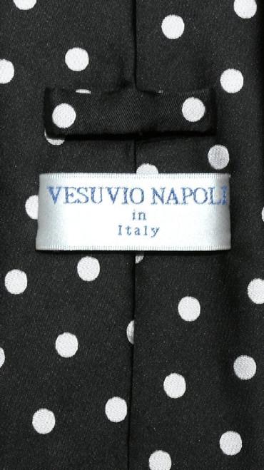 Vesuvio Napoli Black White Polka Dots NeckTie Handkerchief Tie Set