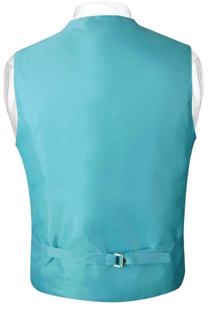 Mens Paisley Design Dress Vest NeckTie Turquoise Blue Neck Tie Set