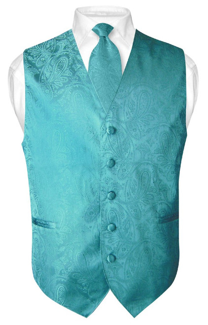 Mens Paisley Design Dress Vest NeckTie Turquoise Blue Neck Tie Set