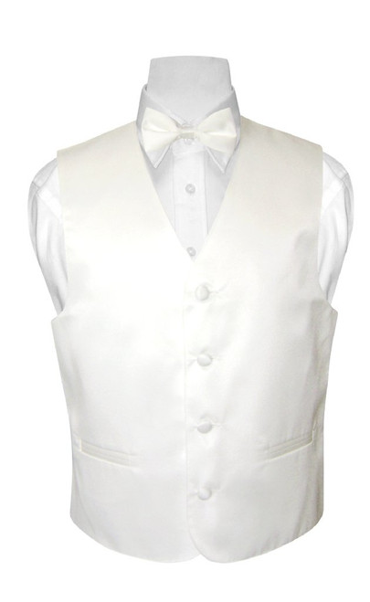 Boys Dress Vest Bow Tie Solid White Color BowTie Set
