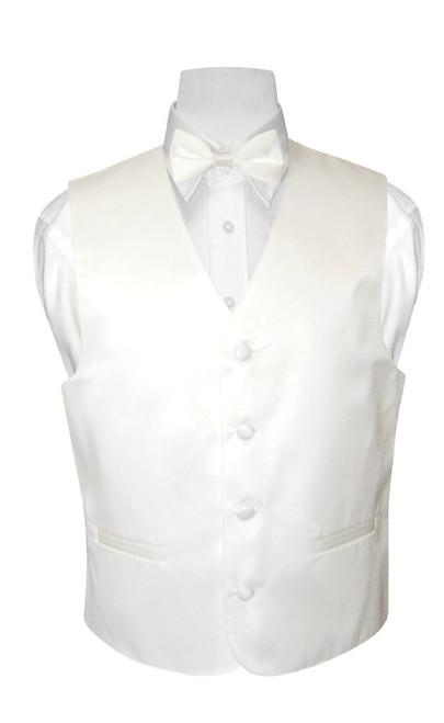 Boys Dress Vest Bow Tie Solid White Color BowTie Set