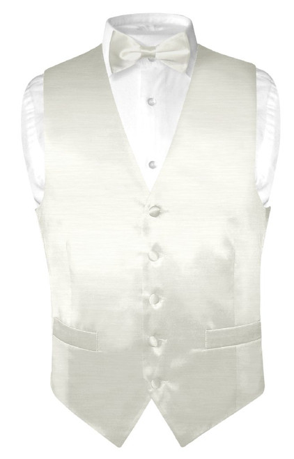 Biagio Mens Solid Off-White Bamboo Silk Dress Vest Bow Tie Set