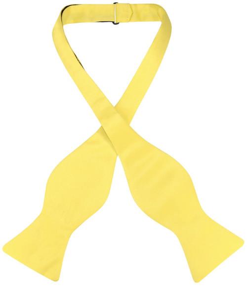 Vesuvio Napoli Self Tie Bow Tie Solid Golden Yellow Mens BowTie
