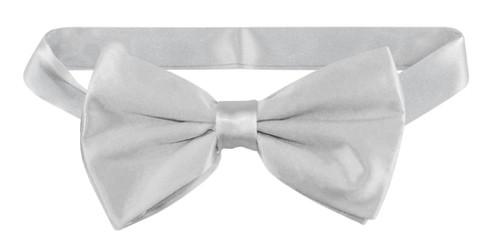 Solid Gray Colored BowTie | Mens Silver Grey Silk Pre Tied Bow Tie