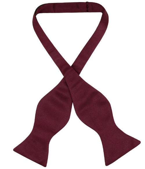 Vesuvio Napoli Self Tie Bow Tie Solid Burgundy Color Mens BowTie