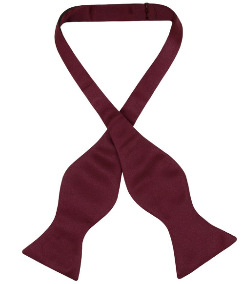 Vesuvio Napoli Self Tie Bow Tie Solid Burgundy Color Mens BowTie