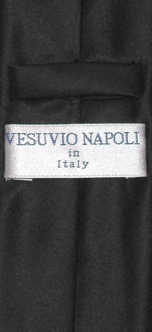 Vesuvio Napoli Narrow NeckTie Skinny Black Color Mens Neck Tie