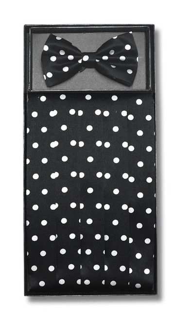Cumberbund BowTie Black w/ White Polka Dots Men Cummerbund Bow Tie Set