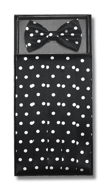 Cumberbund BowTie Black w/ White Polka Dots Men Cummerbund Bow Tie Set
