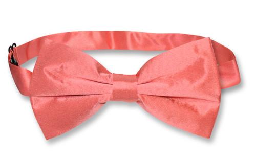 Solid Coral Pink Bowtie | Mens 100% Silk Solid Color Pre Tied Bow Tie