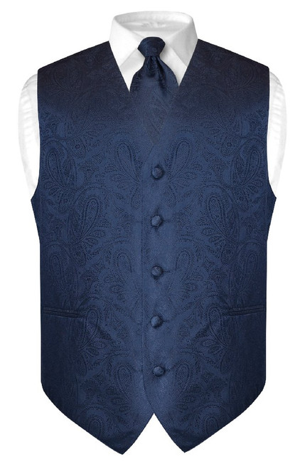 Mens Paisley Design Dress Vest & NeckTie Navy Blue Color Neck Tie Set
