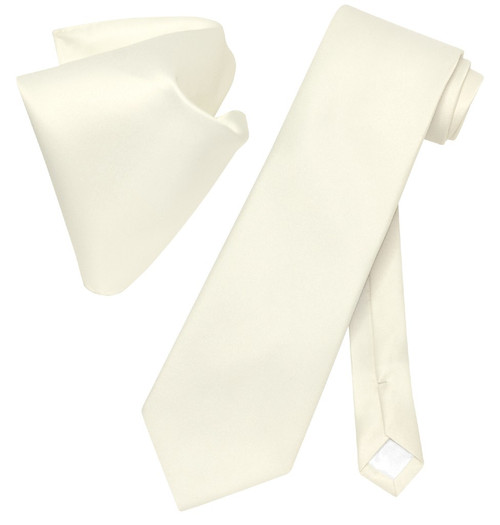 Vesuvio Napoli Solid Cream NeckTie Handkerchief Mens Neck Tie Set